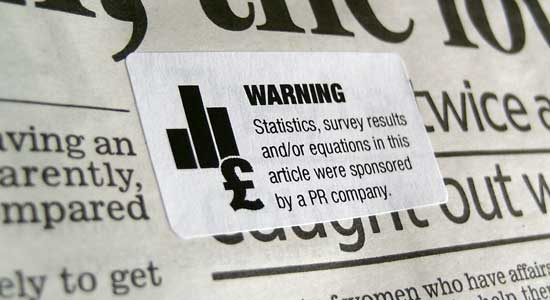 Warning labels for newspapers